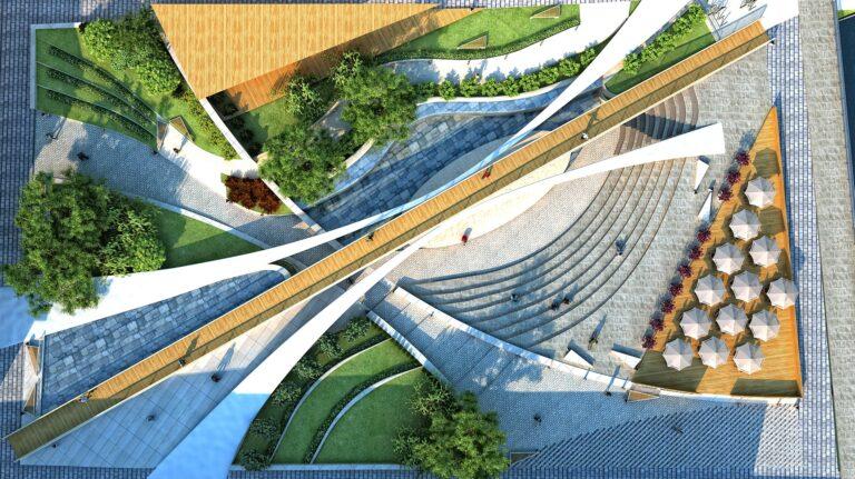 Vista aérea con puente plaza Vigevano